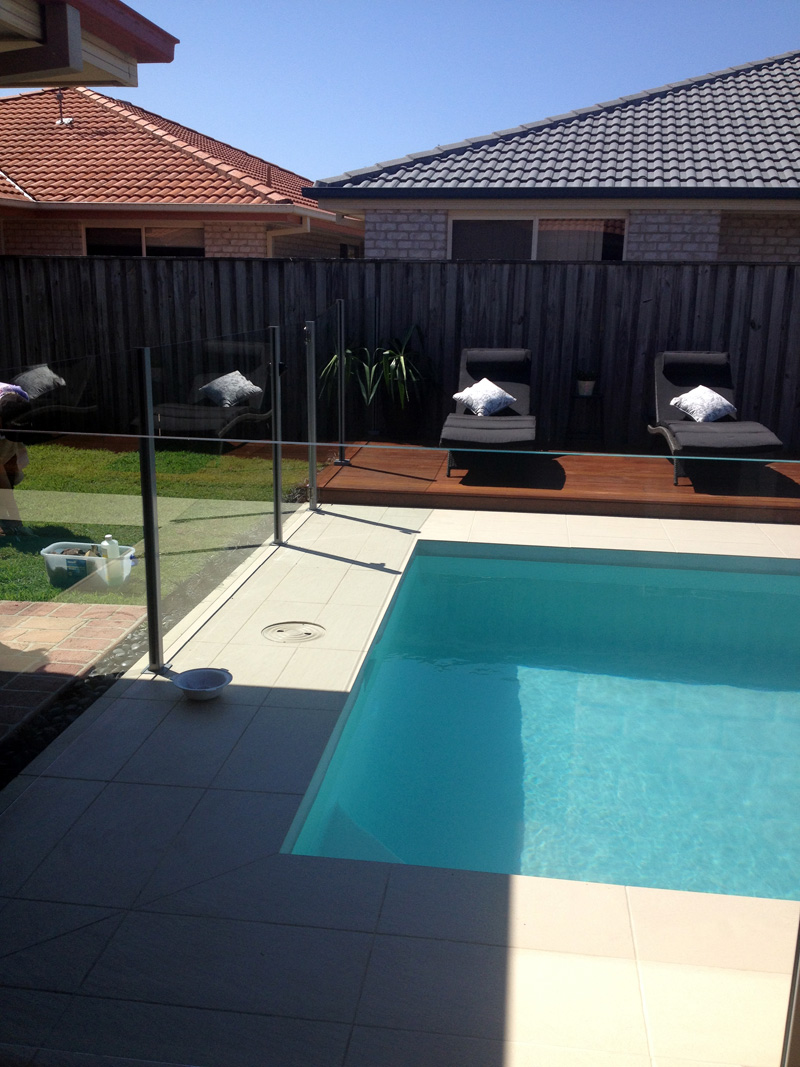 Semi Frameless Pool Fencing - 10mm Clear Toughened Glass - Silver Square Posts - DnD Glass & Glazing - Tweed Heads South NSW